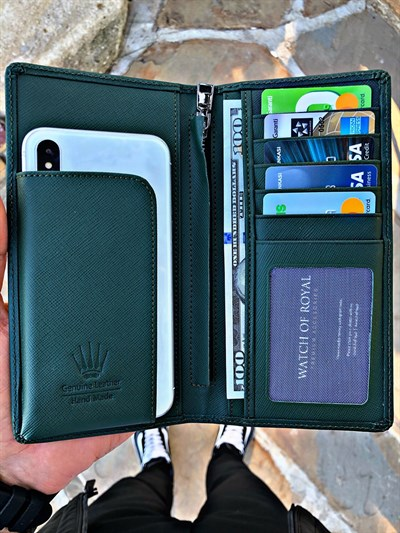GREAT SAFFIANO GREEN PHONE WALLET