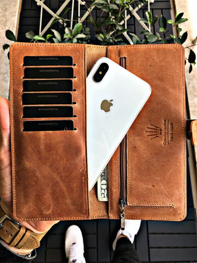 LUCY CRAZY TABA GENUINE LEATHER PHONE WALLET