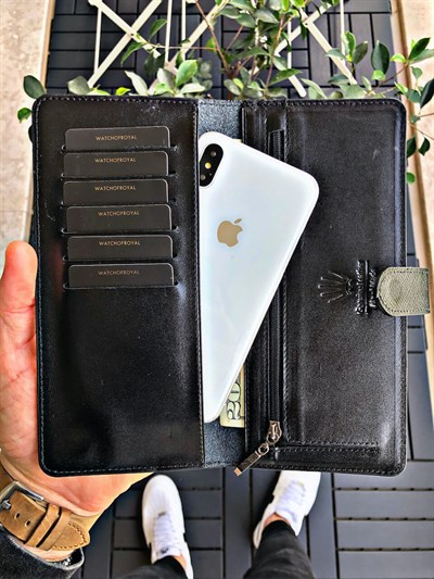 LUCY SAFFIANO BLACK GENUINE LEATHER PHONE WALLET