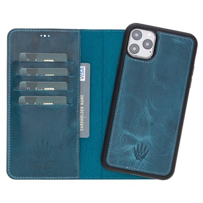 MAGIC WALLET IPHONE 11 PRO MAX TURKUAZ CUZDAN + KILIF
