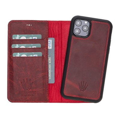 MAGIC WALLET IPHONE 11 PRO BORDO CUZDAN + KILIF