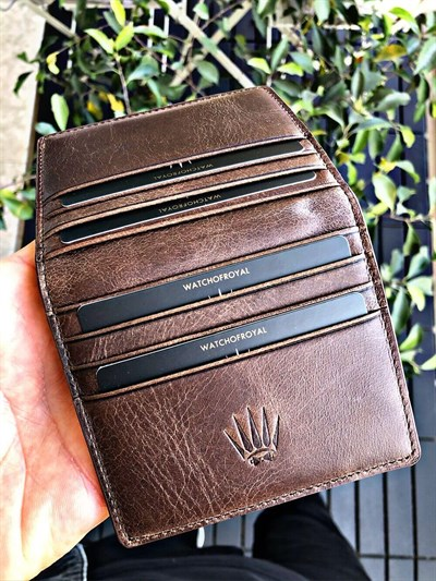 MAGNETIC PAİR CRAZY BROWN BORDO GENUINE LEATHER WALLET