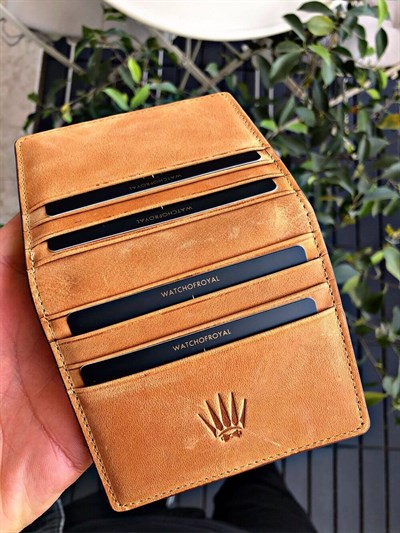 MAGNETIC PAİR YELLOW BROWN BORDO GENUINE LEATHER WALLET