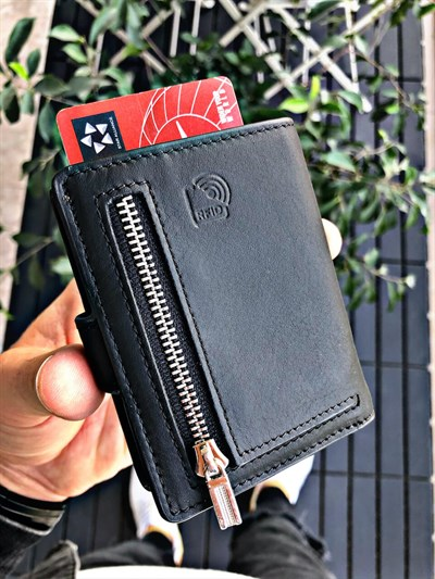 ORLANDO BLACK GENUINE LEATHER WALLET WITH MECHANISM