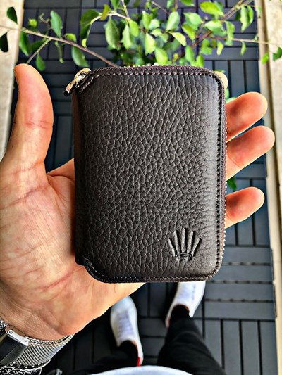 PETTY ZIPPER BROWN MINI WALLET