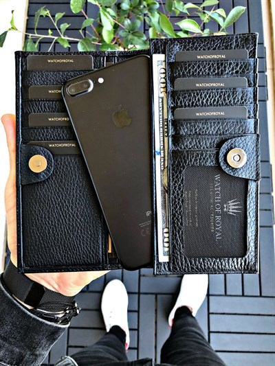 PARIS BLACK GENUINE LEATHER PHONE WALLET