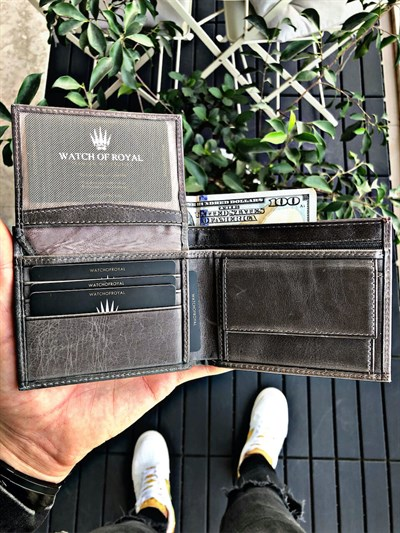 RIO CRAZY GREY  GENUINE LEATHER WALLET