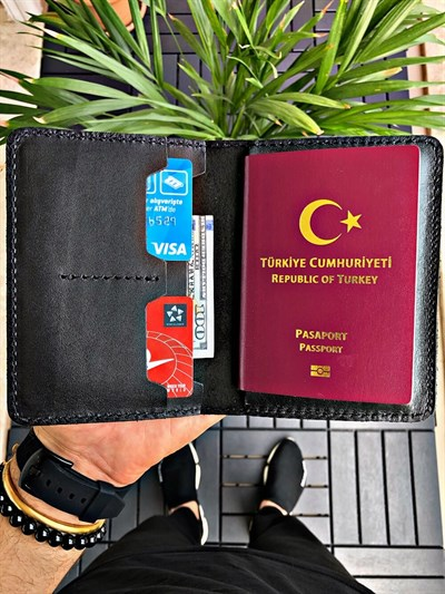 TRAVEL WALLET BLACK PASSPORT CÜZDANI