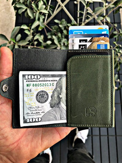 VIRGINIA GREEN  GENUINE LEATHER WALLET WITH MECHANISM