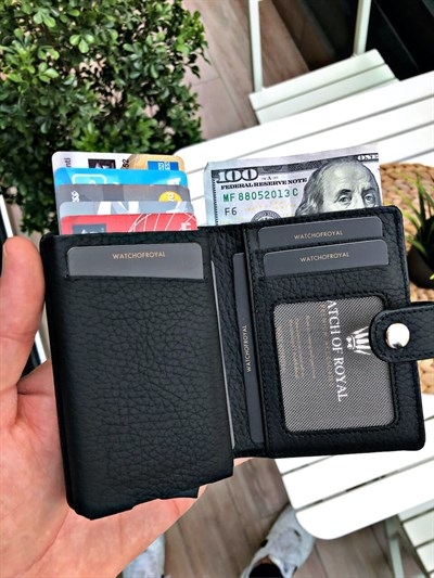 VENTURE FLOTER BLACK GENUINE LEATHER WALLET WITH MECHANISM