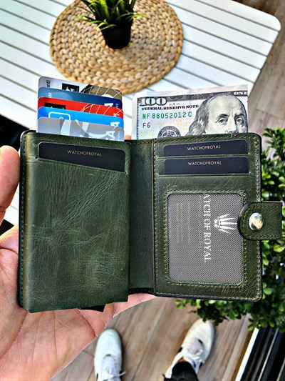 VENTURE GREEN GENUINE LEATHER WALLET WITH MECHANISM