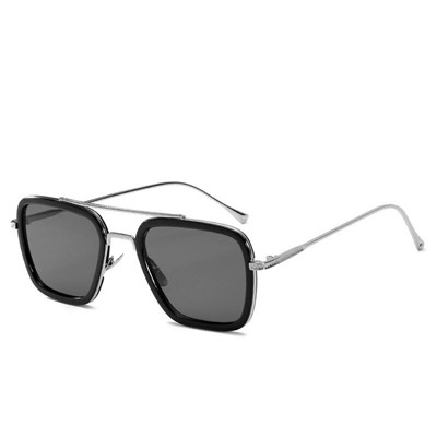 NEWEST RECTANGEL SILVER BLACK SUNGLASSES
