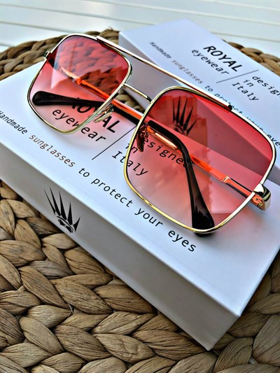 VINTAGE GOLD-RED UNİSEX SUNGLASSES
