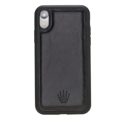 IPHONE XR BLACK LEATHER CASE
