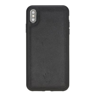 IPHONE XS MAX SAFFIANO BLACK LEATHER CASE