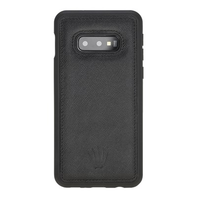 SAMSUNG S10E SAFFIANO BLACK LEATHER KILIF