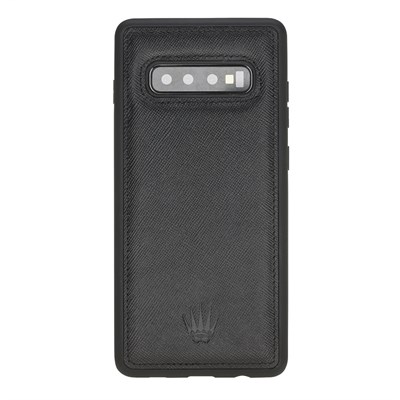 SAMSUNG S10 PLUS SAFFIANO BLACK LEATHER KILIF