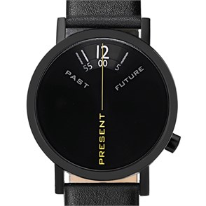 Projects Watches Past Present Future Black Leather Kol Saati Unisex Kol Saati