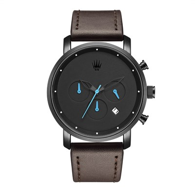 CHRONO BLACK LEATHER WATCHES