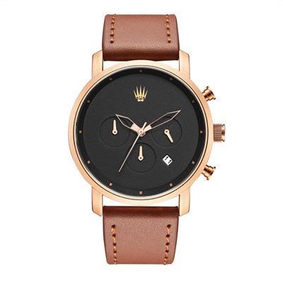 CHRONO ROSE GOLD LEATHER KOL SAATİ