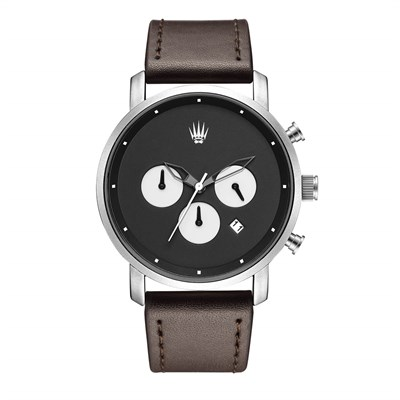 CHRONO SILVER BLACK LEATHER KOL SAATİ
