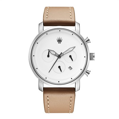 CHRONO SILVER WHITE LEATHER KOL SAATİ