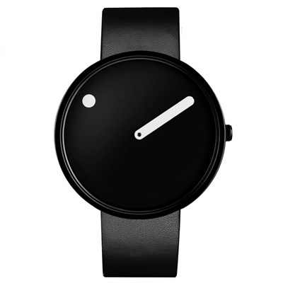 POINT LINE BLACK LEATHER Watches