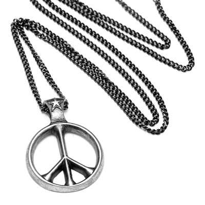 WORLD PEACE RETRO TİTANYUM KOLYE